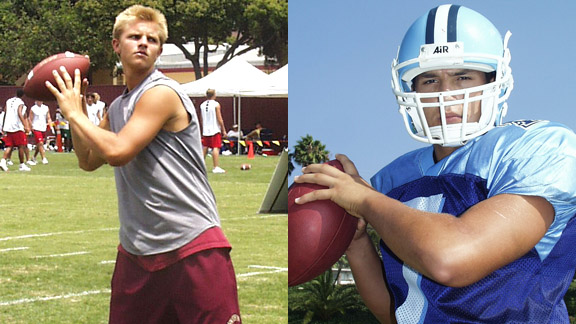 Jimmy Clausen (left) threw for 57 TDs as a sophomore at Oaks Christian while David Koral had 56 as a junior at Palisades. Koral also holds the state and national records for most yards passing in one game.