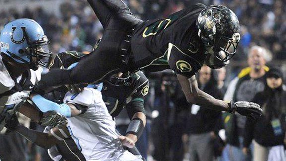 New No. 19 Narbonne of Harbor City is going for its third straight L.A. City Section title, a streak that began in 2011 when Tray Boone (above) scored six TDs in the championship game against Carson. Photo: From Cal-Hi Sports archives.