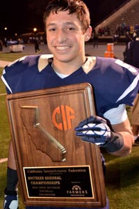 Sean McGrew holds 2013 CIF Southern Regional Open Division championship plaque. Photo: Scott Kurtz.