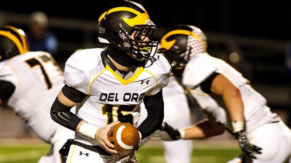 Del Oro QB Michael Moore gets ready to make a handoff in last week's D1 North bowl game vs. San Mateo Serra. Photo: Courtesy SportStars Magazine.