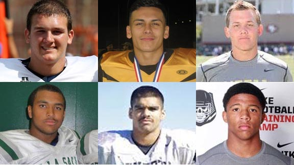 Six more players who have earned all-state honors on Super Bowl Sunday are (top) Kameron Schroeder of Cosumnes Oaks, Cristian Solano of San Fernando and Coltin Gerhart of Vista Murrieta plus (bottom) Larry Allen III of De La Salle, Edgar Segura of Mendota and Naijiel Hale of St. John Bosco. Gerhart is the third brother of his family to be an all-state overall choice after Toby and Garth. Larry Allen III last week announced he will not go to a Pac-12 college and instead will play next at Harvard. If you know the difficult path of Larry's father (the NFL Hall of Famer), to see his son going to Harvard is another chapter in a truly remarkable story.