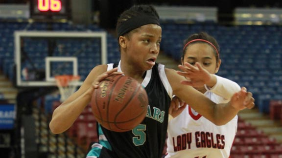 Junior guard Brianne Cheatum from Canyon Springs of Moreno Valley is on the move during her team's win against Pleasant Grove in CIF Division I state final. Photo: Willie Eashman.