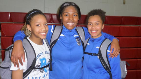 Three players who performed well for D5 No. 1 Brookside Christian on Tuesday were freshman Sasha Brown, junior RaKyra Gabriel and junior Ariana Vaughn. They play Pinewood of Los Altos Hills next. Photo: Mark Tennis.