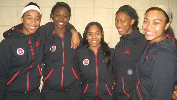 California's five McDonald's All-Americans surprisingly also are among the first team overall on the 2014 all-state team. They are (l-r) Mikayla Cowling, Gabby Green, Jordin Canada, Lajahna Drummer and Mariya Moore. Photo: Ronnie Flores.