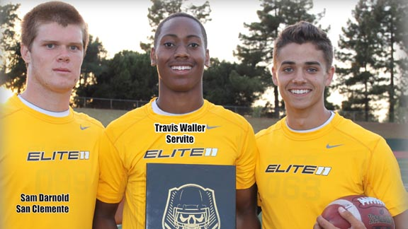 Earning invites on Friday to this summer's Elite 11 Quarterback Finals in Oregon were Sam Darnold of San Clemente, Travis Waller of Anaheim Servite and Brady White of Newhall Hart. Photo: Willie Eashman.