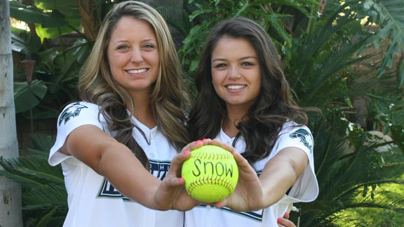 Tannon Snow (left) had a huge home run for Chino Hills in its quarterfinal playoff win. She and her freshman sister, Taylon, have committed to Washington. Photo: Snow family.