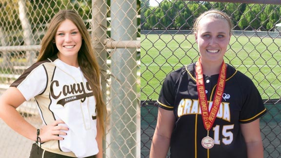 Paulina Anasis from Canyon of Anaheim and Taylor Zehr from Granada of Livermore are among 30 named to first team all-state underclass softball team. Anasis, committed to Northwestern, batted .425 and helped Canyon reach CIF Southern Section Division I semifinals. Zehr belted 10 homers with a .511 average and helped Granada get to CIF North Coast Section Division I final. Photos: Nadia Martinez/OC Sidelines & Mark Tennis.