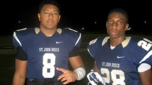 St. John Bosco LB Nas Anesi (left) and CB Traveon Beck had big games last season when Braves topped Mater Dei. Photo: Ronnie Flores