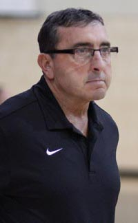 Head coach Tom Gonsalves of Stockton St. Mary's always displays intensity on the bench . Photo: Willie Eashman.