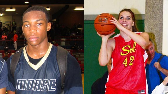 Two of this week's honorees are junior Justin Davis of San Diego Morse and senior Ali Engelhardt of San Diego Mt. Carmel. Photos: Ronnie Flores/Cal-Hi Sports & Twitter.com.