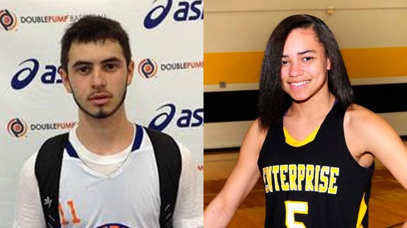 Two of this week's honors go to Michael Polman (left) from Burroughs of Ridgecrest and Kamira Sanders from Enterprise of Redding. Photos: Courtesy family & BeRecruited.com.