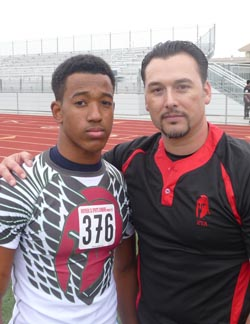 Marcel Dancy from West High of Tracy stands with David Luera, one of the co-founders of the Elite Training Academy, at last year's combine. Photo: Mark Tennis.