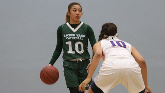 Senior point guard Kayla Coloyan and No. 19 Sacred Heart Cathedral already have  big win on Tuesday of this week. Photo: Jack Connolly/Prep2Prep.com.