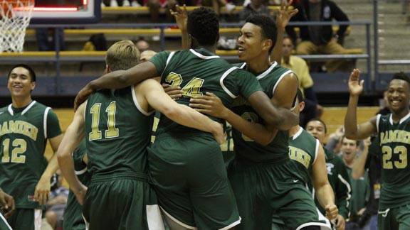Damien of La Verne players get pumped at center court moments after the final horn sounded in the CIF Division III state final at Haas Pavilion. Photo: Willie Eashman.