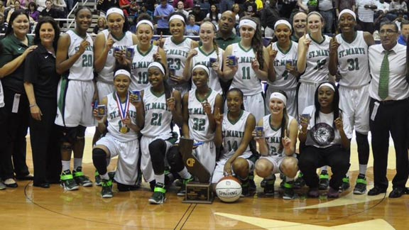 St. Mary's of Stockton players and coaches (some of which didn't fit in this space) pose for championship photo. Photo: Sydney Spurgeon