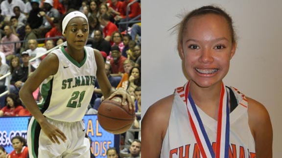 Mi'Cole Cayton from St. Mary's of Stockton and Valerie Higgins from Chaminade of West Hills also were Ms. Basketball State POY finalists. Photos: Willie Eashman & Mark Tennis.
