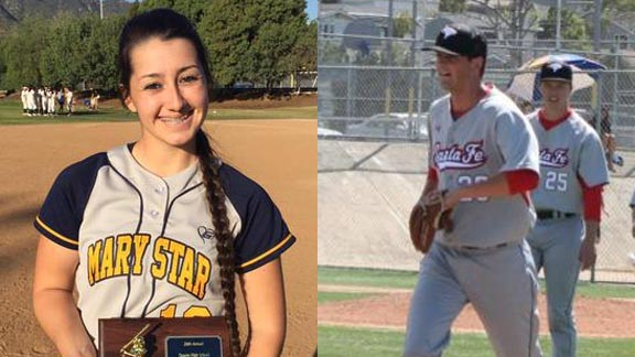Two of the best on this week's honor roll are Marina Vitalich from Mary Star of San Pedro and Cole Acosta from Santa Fe Christian. Photos: Courtesy family & Twitter.com.