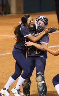 The final out is made and it's time for Yucaipa players to celebrate after big win on Friday night over state and national No. 1 Mission Viejo. Photo: Patrick Takkinen/OCSidelines.com.