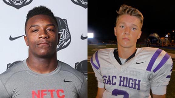 Two of this week's NorCal/SoCal Players of the Week are Khalil Tate from Serra of Gardena (left) and Kaden Voges of Sacramento. Photos: StudentSports.com & Mark Tennis.