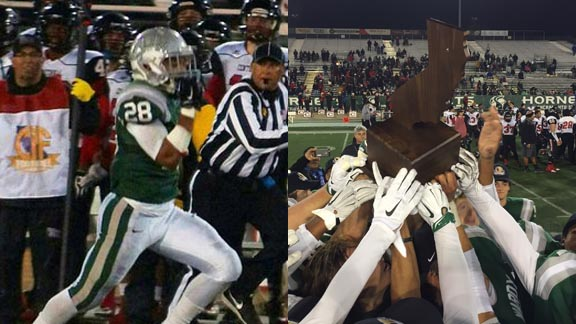 Antoine Custer's 63-yard TD run (left) helped De La Salle's players swarm around another CIF state title trophy last Saturday. Photos: Phillip Walton/SportStars & Paul Muyskens.