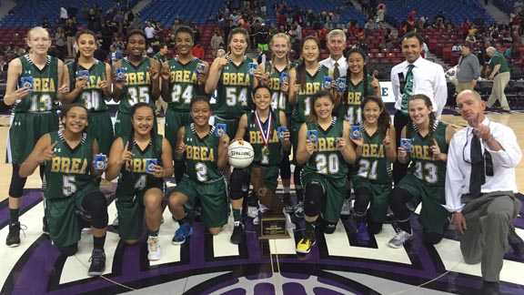 California's Division I state champs for 2016 in girls basketball is Brea Olinda. The Ladycats lost in last year's D3 final. Photo: Harold Abend.