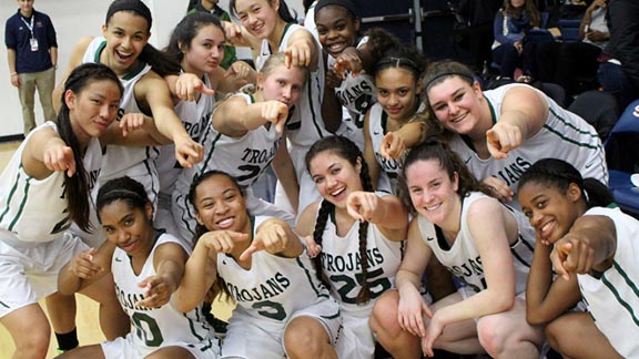 Castro Valley's girls get a little goofy after winning CIF North Coast Section Division I championship over Heritage (Brentwood). Photo: cvhsolympian.com.