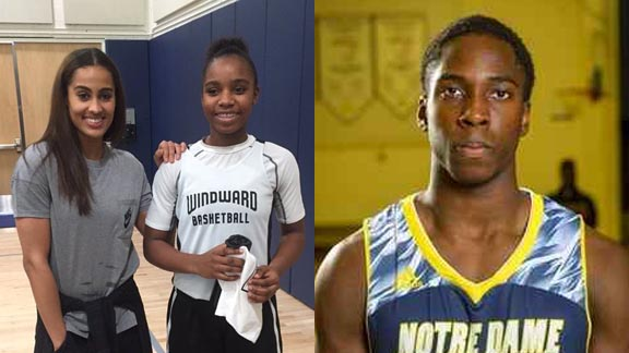 This week's SoCal girls honoree, freshman Charisma Osborne of L.A. Windward, stands with WNBA superstar Skylar Diggins in early February while this week's SoCal boys pick is Sherman Oaks Notre Dame's Chibueze Jacobs. Photos: Twitter.com & @ndhs_basketball.