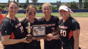 Half Moon Bay captains hold CCS D3 title trophy. Photo: Harold Abend.