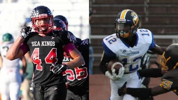 Two of this week's NorCal/SoCal honorees are Shane Irwin of PV Estates Palos Verdes and Roshawn Livingston from Jefferson of Daly City. Photos: Hudl.com & Willie Eashman.