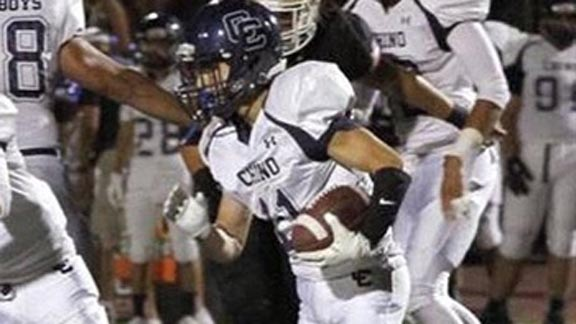 Andrew Almazan of Chino probably wishes there is a recount of his rushing stats after he was listed with 299 yards and 298 yards in back-to-back weeks. Photo: Hudl.com.