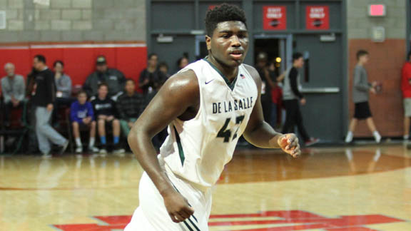 Defending NorCal Open Division champ Concord De La Salle got most of its scoring in the backcourt last season, but forward Emeka Udenyi, who checks in at No. XX in the 2017 Cal-Hi Sports Hot 100, will have to shoulder a bigger load in his senior season. Photo: Andrew Drennen