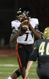 Sophomore QB Kaun Green had a breakout game coming off the bench after an injury in McClymonds' win over Moreau Catholic. Photo: Willie Eashman.