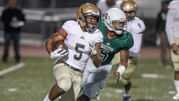 Oregon-bound running back C.J. Verdell of Chula Vista Mater Dei Catholic looks to turn the corner in game earlier this season against Hawkins of Los Angeles. Both teams should place fairly high on the SoCal board if both win section titles. Photo: fi360news.com.