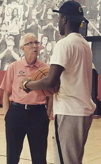 Sierra Canyon standout Adam Seiko talks to San Diego State head coach Steve Fisher during recent visit. Photo: @SCanyonSports/Twitter.com.