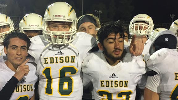 Some of the heroes for No. 11 Edison in its win over La Mirada were (l-r) McCade Barrett, Griffin O'Connor and E.J. Ginnis. Chargers face San Clemente next. Photo: Mark Tennis.