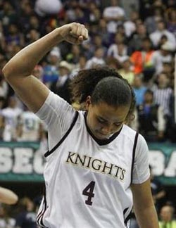 Destiny Littleton gives a fist pump to the crowd during CIF San Diego Section championships. Photo: Courtesy school.